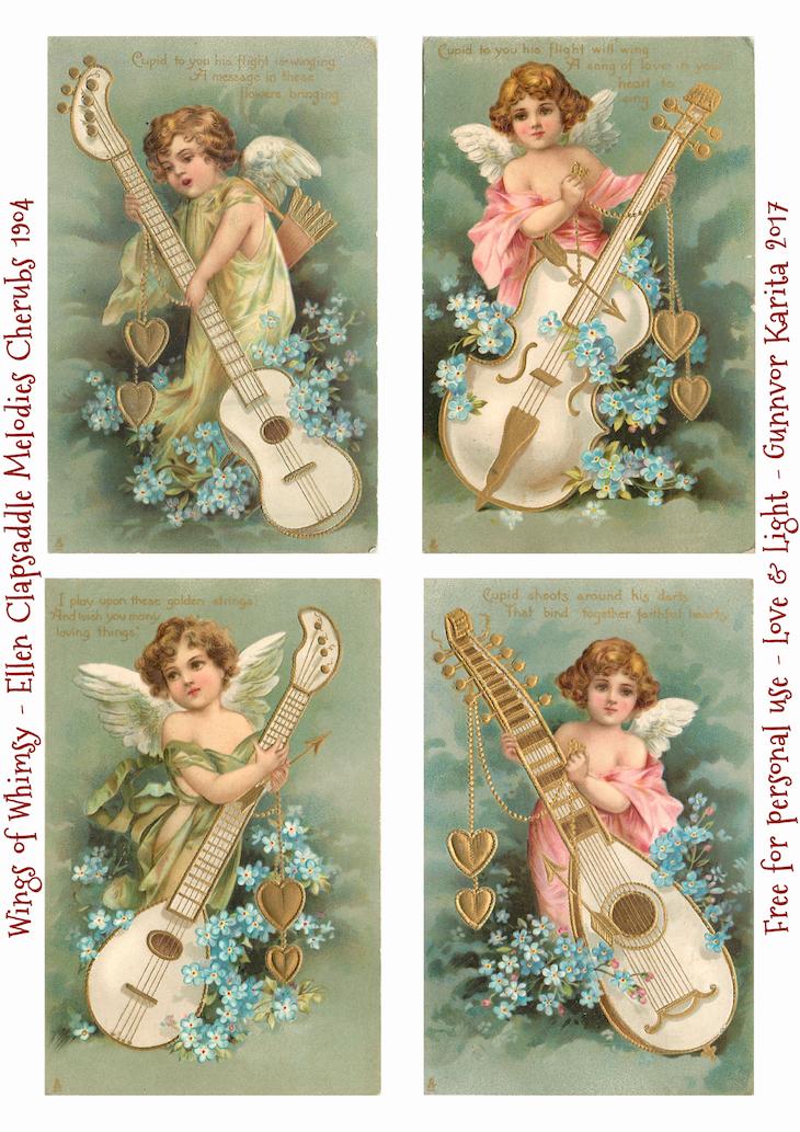 Wings of Whimsy: Ellen Clapsaddle Melodies Cherubs 1904 #vintage #valentine #ephemera #freebie #valentine #cherubs