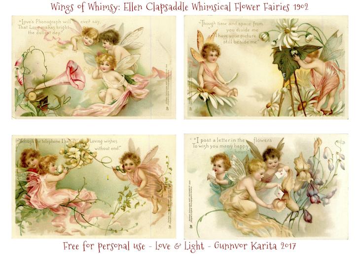 Wings of Whimsy: Ellen Clapsaddle - Whimsical Flower Fairies 1902 #vintage #valentine #ephemera #freebie #valentine #cherubs #fairies