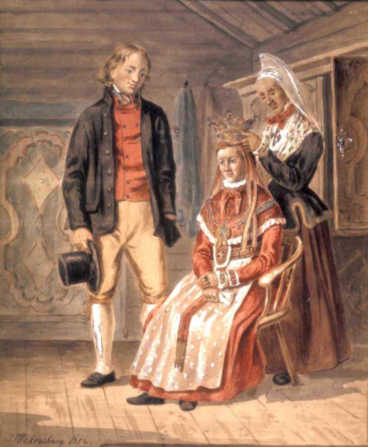 Wings of Whimsy: J F Eckersberg 1851 Brudepynting Trøndelag (Adorning the Bride)