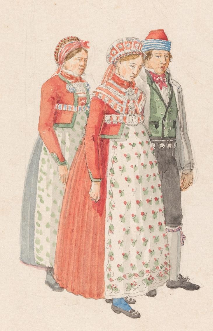 Wings of Whimsy: Johannes Flintø - Bunad Study, Bride & Groom, Valdres 1822