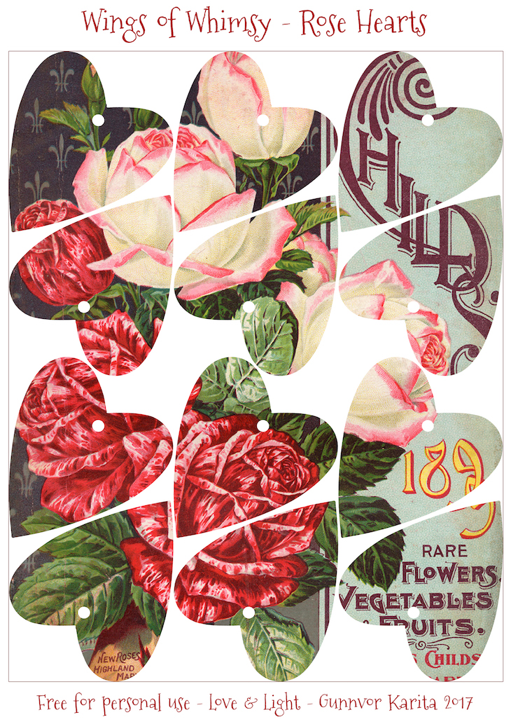 Wings of Whimsy: Antique Seed Catalogs Reinvented - Rose Hearts #vintage #ephemera #printable #freebie #seed #catalog #rose #heart