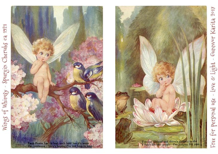 Wings of Whimsy: Fred Sprugin Fairyland Cherubs - ca 1921 #vintage #ephemera #printable #freebie #cherub #fairyland