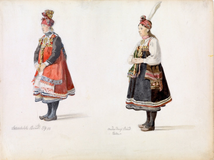 Wings of Whimsy: Adolph Tidemand - Bride from Setesdal - 1st & 2nd day of wedding festival 1848
