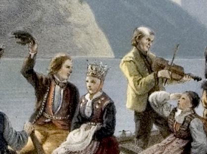 Wings of Whimsy: Adolph Tidemand - En brudeferd til vanns 1854 - Detail