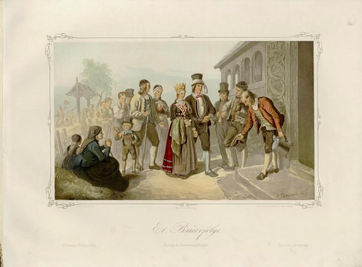 Illustrasjon hentet fra boken Norske Folkelivsbilleder av Tidemand, Adolph og utgitt av Chr. Tønsberg (Christiania, 1854)