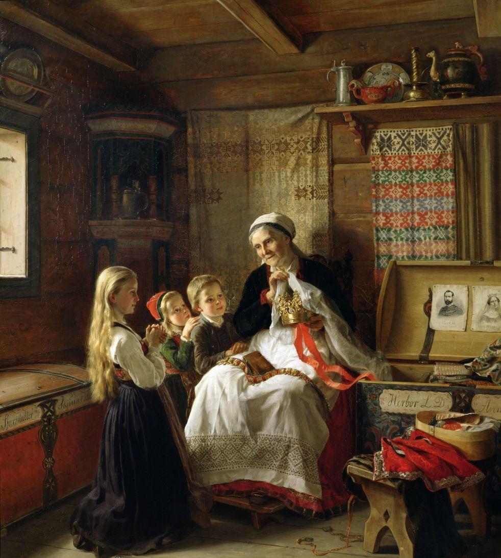 Wings of Whimsy: Adolph Tidemand - Bestemors brudekrone 1865