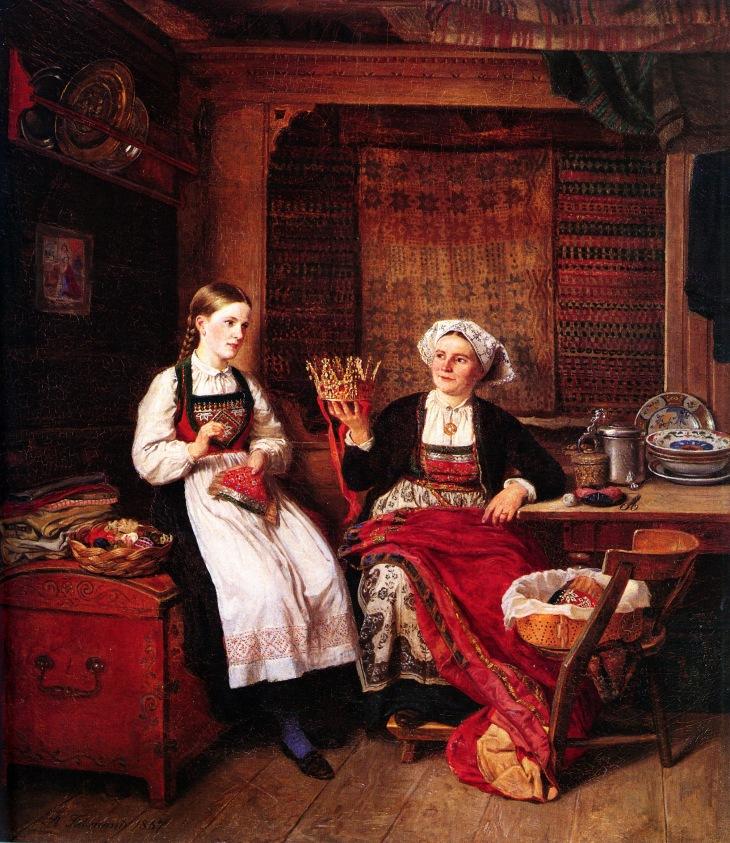 Wings of Whimsy: Adolph Tidemand - Bestemors brudekrone 1867