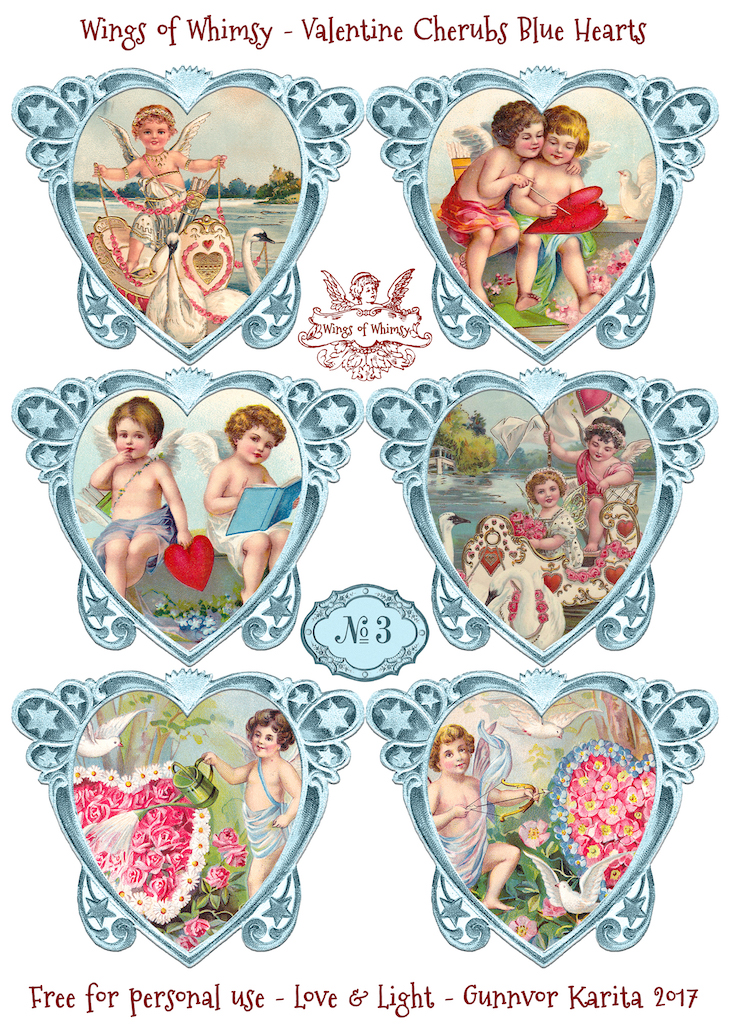 Wings of Whimsy: Valentine Cherubs Hearts Blue #vintage #ephemera #freebie #printable #valentine #heart #cherub
