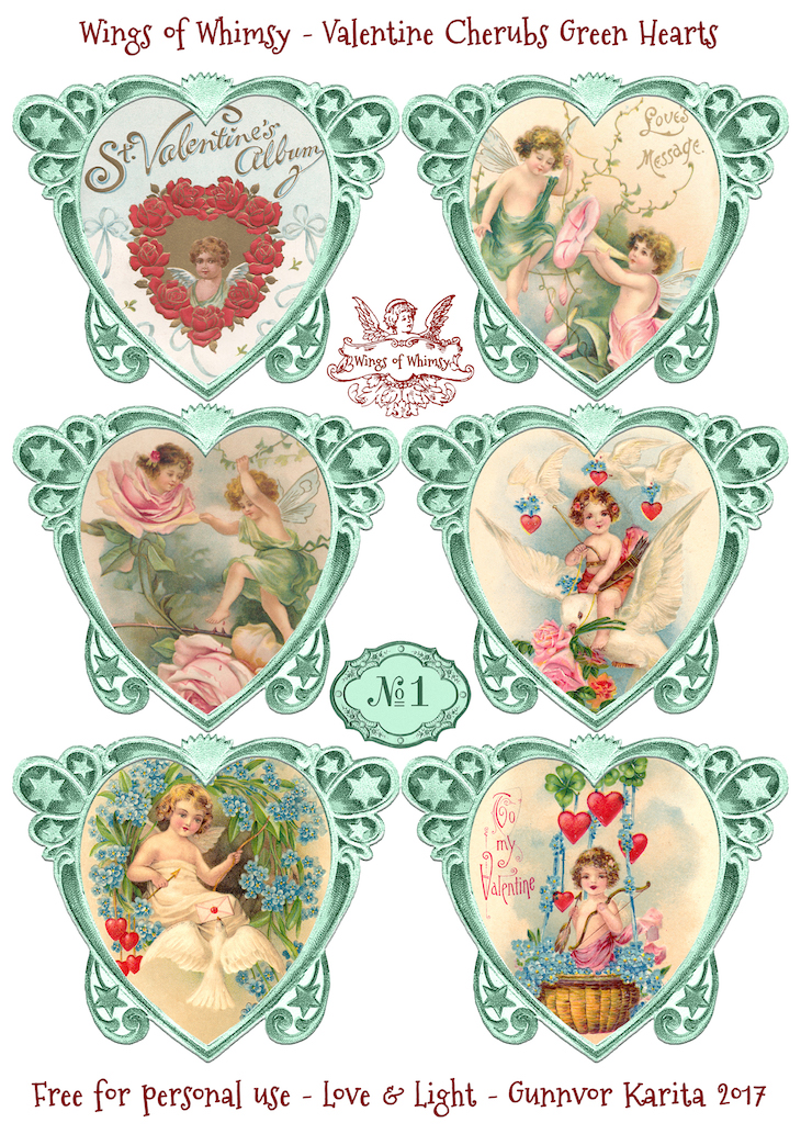 Wings of Whimsy: Valentine Cherubs Hearts Green #vintage #ephemera #freebie #printable #valentine #heart #cherub