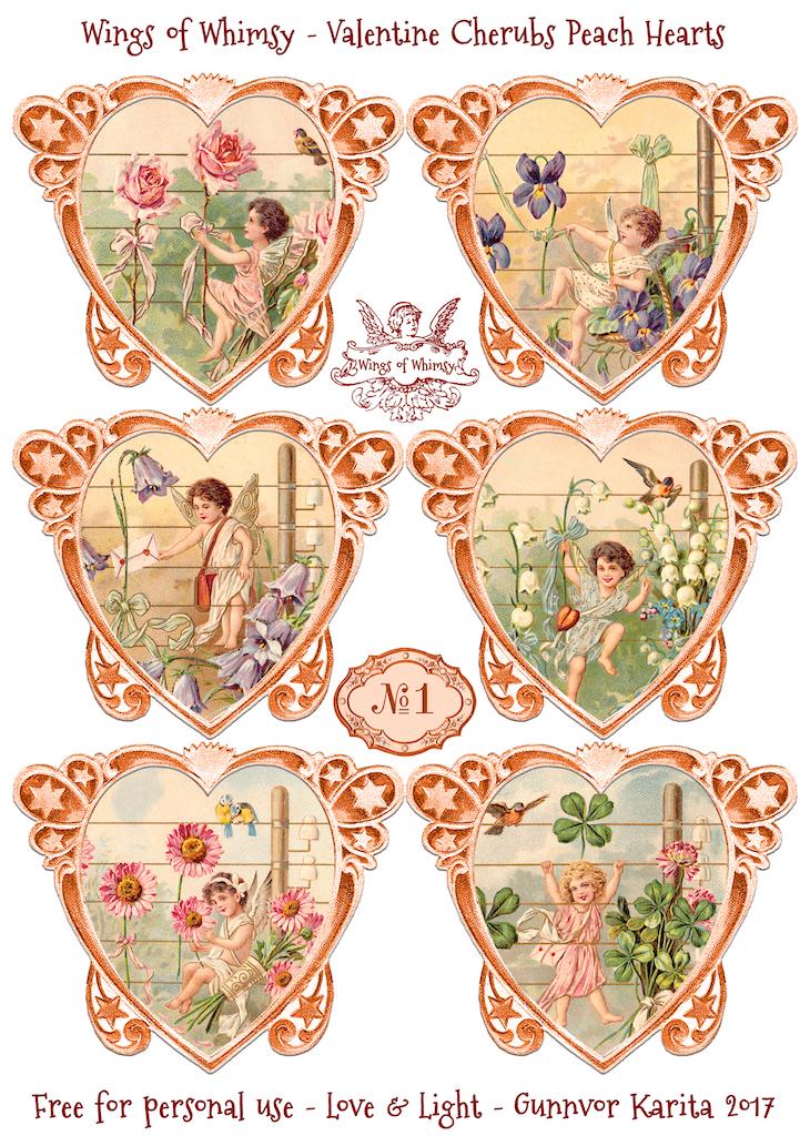 Wings of Whimsy: Valentine Cherubs Hearts Peach #vintage #ephemera #freebie #printable #valentine #heart #cherub