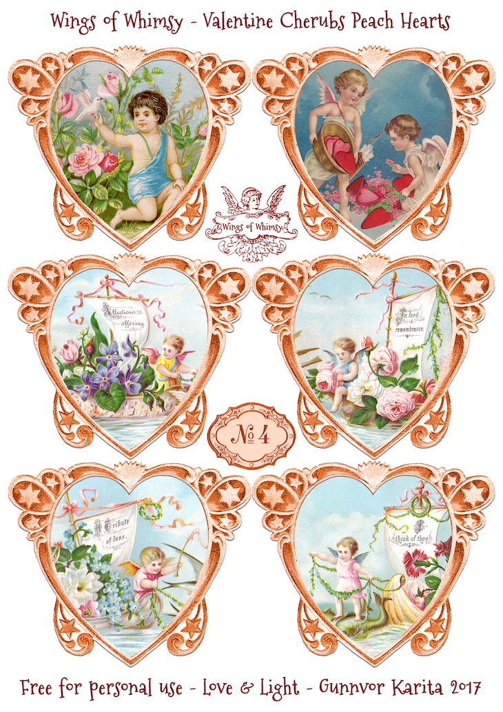 Wings of Whimsy: Valentine Cherubs Hearts Peach #vintage #ephemera #freebie #printable #valentine #heart #cherub