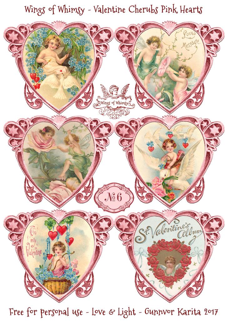 Wings of Whimsy: Valentine Cherubs Hearts Pink #vintage #ephemera #freebie #printable #valentine #heart #cherub