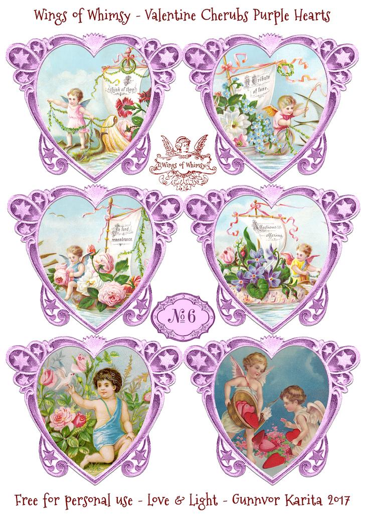 Wings of Whimsy: Valentine Cherubs Hearts Purple #vintage #ephemera #freebie #printable #valentine #heart #cherub