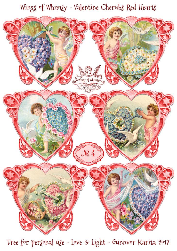 Wings of Whimsy: Valentine Cherubs Hearts Red #vintage #ephemera #freebie #printable #valentine #heart #cherub-kopi