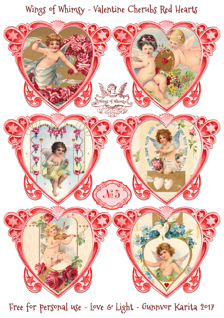Wings of Whimsy: Valentine Cherubs Hearts Red #vintage #ephemera #freebie #printable #valentine #heart #cherub-kopi