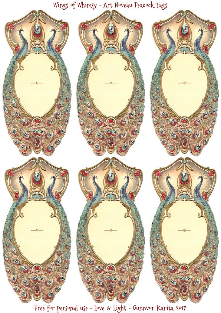Wings of Whimsy: Art Noveau Peacock Label & Tags #vintage #ephemera #freebie #printable #png #peacock #label #tag #art #noveau