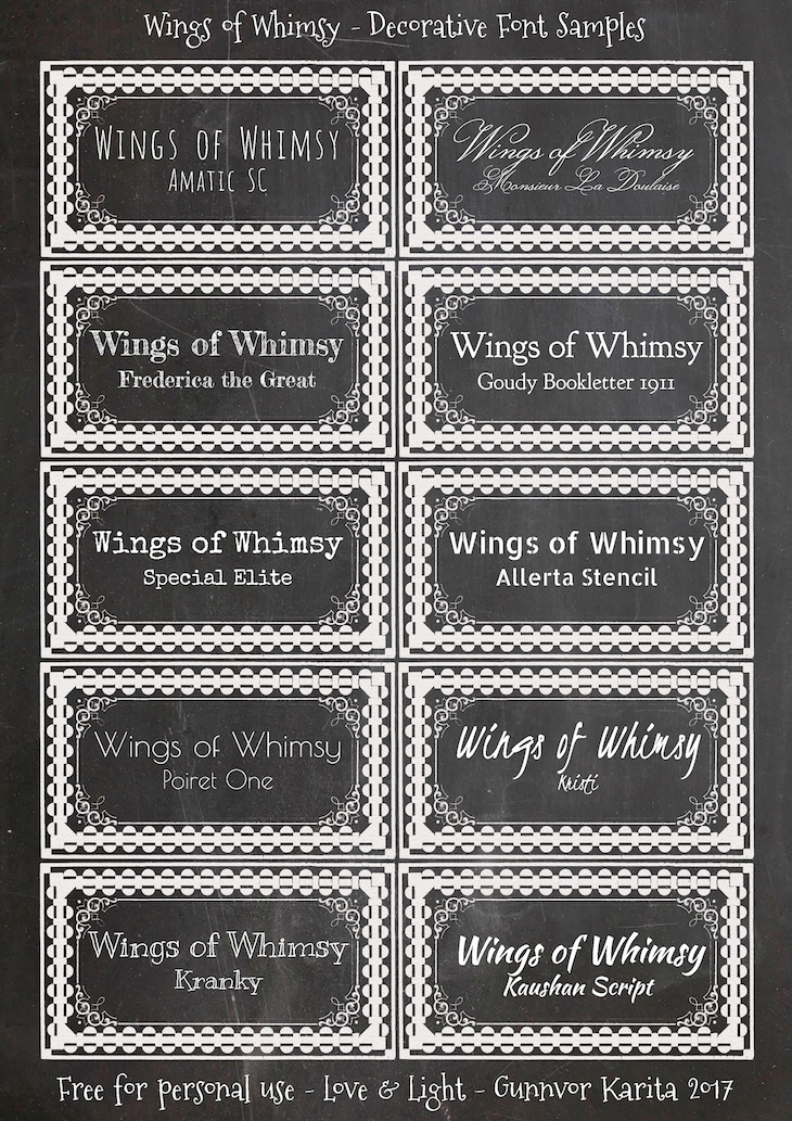 Wings of Whimsy: Decorative Fonts #diy #alphabet #printable #freebie #chalkboard #labels #fonts