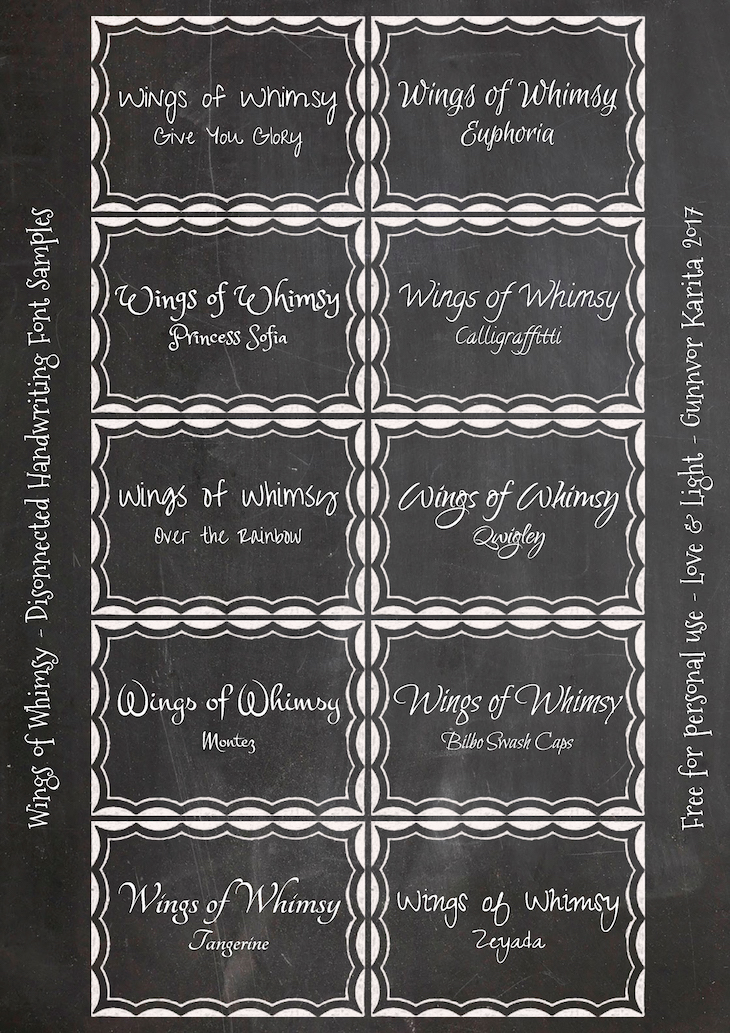 Wings of Whimsy: Disconnected Handwriting Fonts #diy #alphabet #printable #freebie #chalkboard #labels #fonts