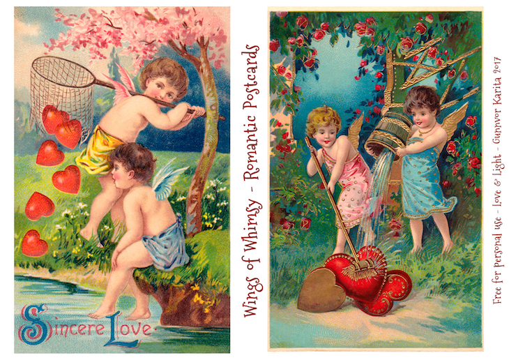 Wings of Whimsy: Romantic Postcards Day 5 #vintage #ephemera #freebie #printable #love #valentine #romantic #cherub #cupid