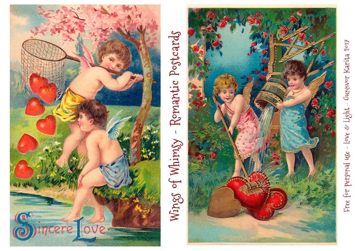 Wings of Whimsy: Romantic Postcards Day 5 #vintage #ephemera #freebie #printable #love #valentine #romantic #cherub #cupid