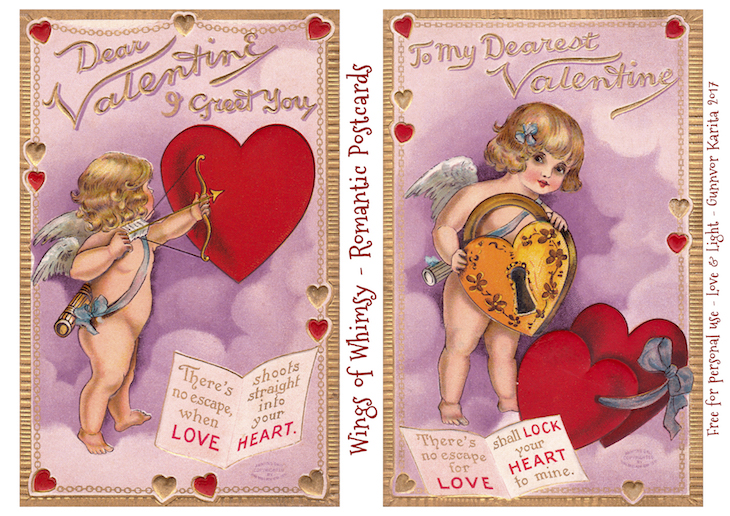 Wings of Whimsy: Romantic Postcards Day 6 #vintage #ephemera #freebie #printable #love #valentine #romantic #cherub #cupid