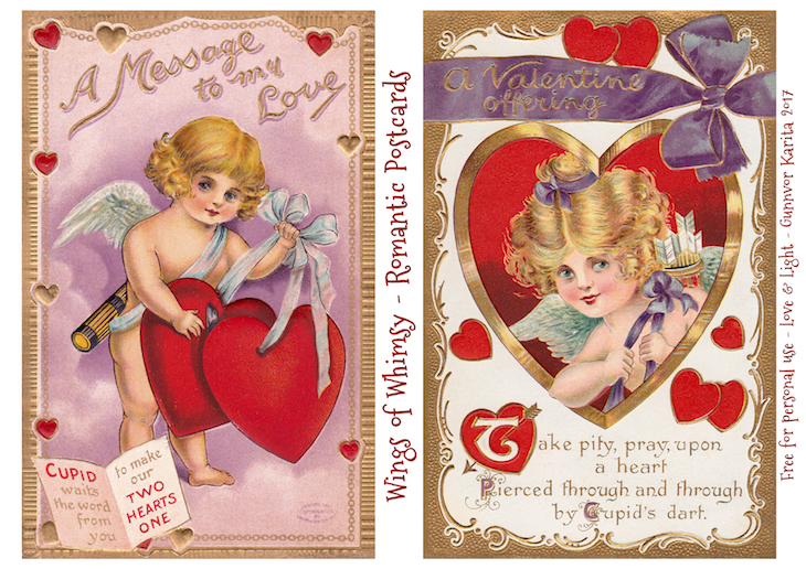 Wings of Whimsy: Romantic Postcards Day 6 #vintage #ephemera #freebie #printable #love #valentine #romantic #cherub #cupid