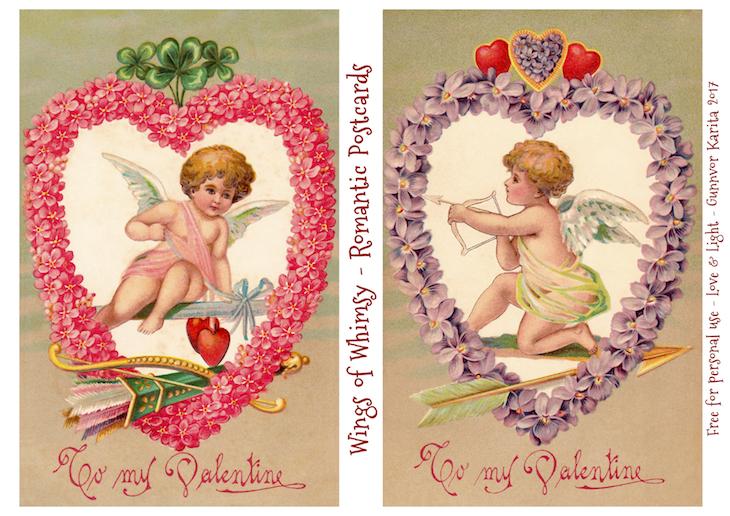 Wings of Whimsy: Romantic Postcards Day 7 #vintage #ephemera #freebie #printable #love #valentine #romantic #cherub #cupid