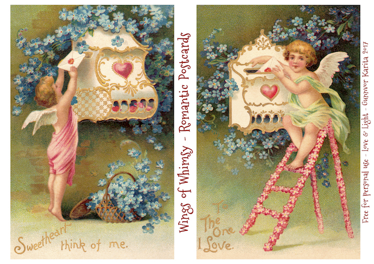 Wings of Whimsy: Romantic Postcards Day 8 #vintage #ephemera #freebie #printable #love #valentine #romantic #cherub #cupid