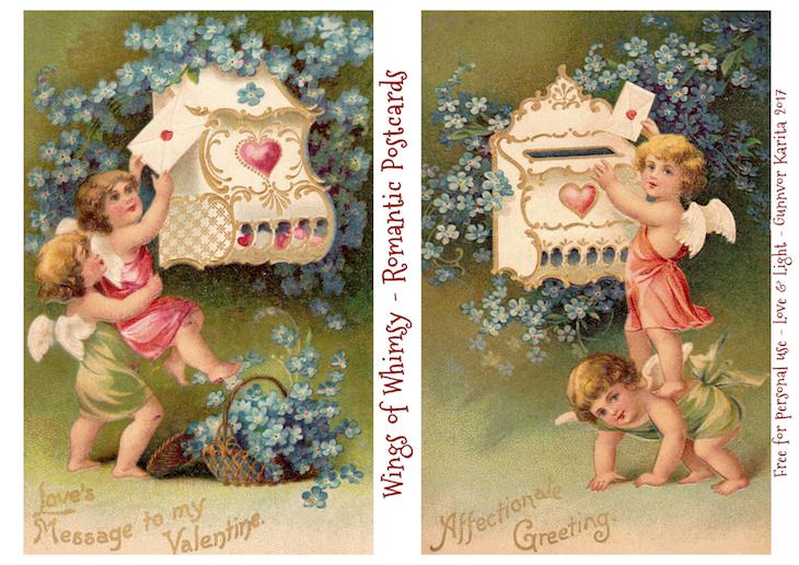 Wings of Whimsy: Romantic Postcards Day 8 #vintage #ephemera #freebie #printable #love #valentine #romantic #cherub #cupid