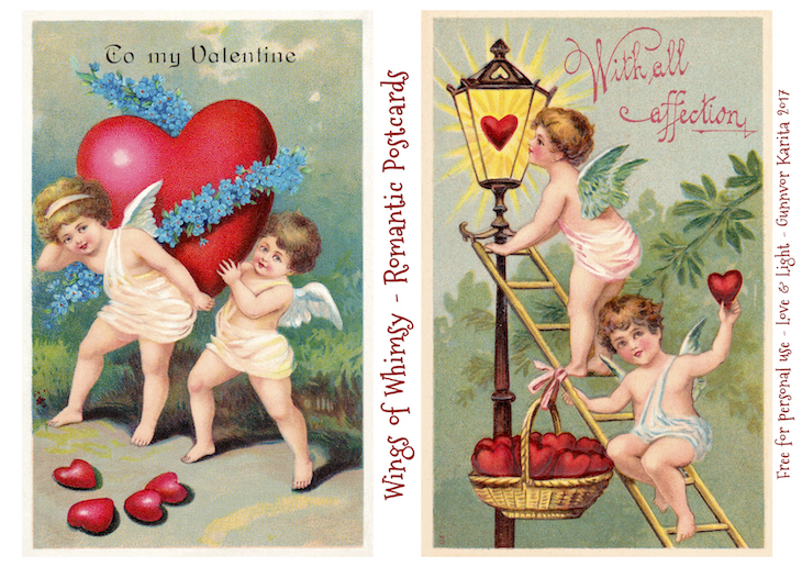 Wings of Whimsy: Romantic Postcards Day 9 #vintage #ephemera #freebie #printable #love #valentine #romantic #cherub #cupid