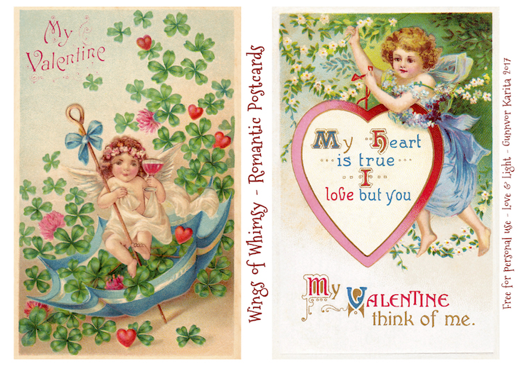 Wings of Whimsy: Romantic Postcards Day 10 #vintage #ephemera #freebie #printable #love #valentine #romantic #cherub #cupid