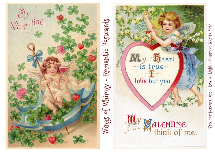Wings of Whimsy: Romantic Postcards Day 10 #vintage #ephemera #freebie #printable #love #valentine #romantic #cherub #cupid