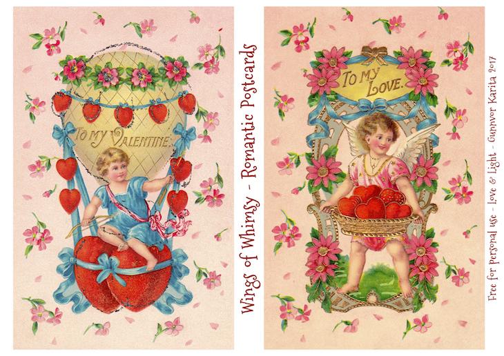 Wings of Whimsy: Romantic Postcards Day 11 #vintage #ephemera #freebie #printable #love #valentine #romantic #cherub #cupid