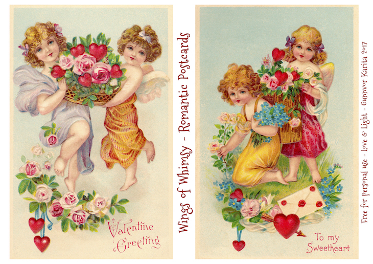 Wings of Whimsy: Romantic Postcards Day 12 #vintage #ephemera #freebie #printable #love #valentine #romantic #cherub #cupid
