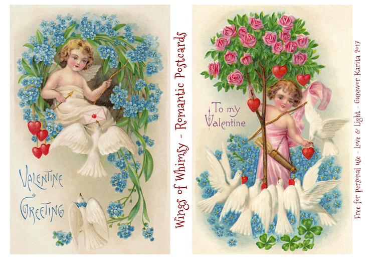 Wings of Whimsy: Romantic Postcards Day 13 #vintage #ephemera #freebie #printable #love #valentine #romantic #cherub #cupid