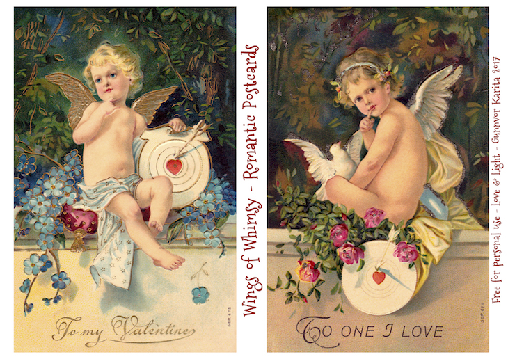 Wings of Whimsy: Romantic Postcards Day 14 #vintage #ephemera #freebie #printable #love #valentine #romantic #cherub #cupid