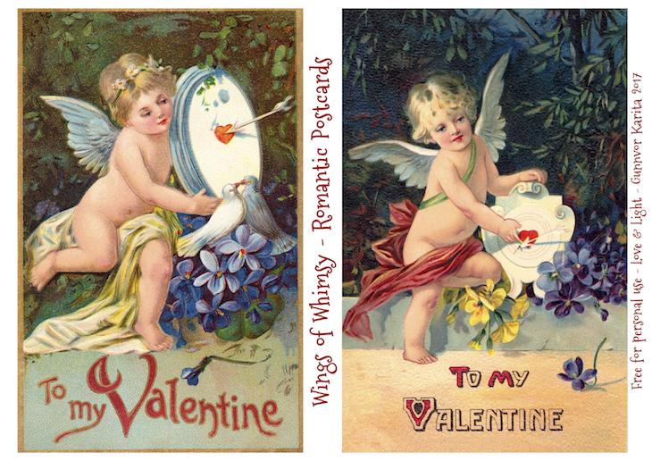 Wings of Whimsy: Romantic Postcards Day 14 #vintage #ephemera #freebie #printable #love #valentine #romantic #cherub #cupid