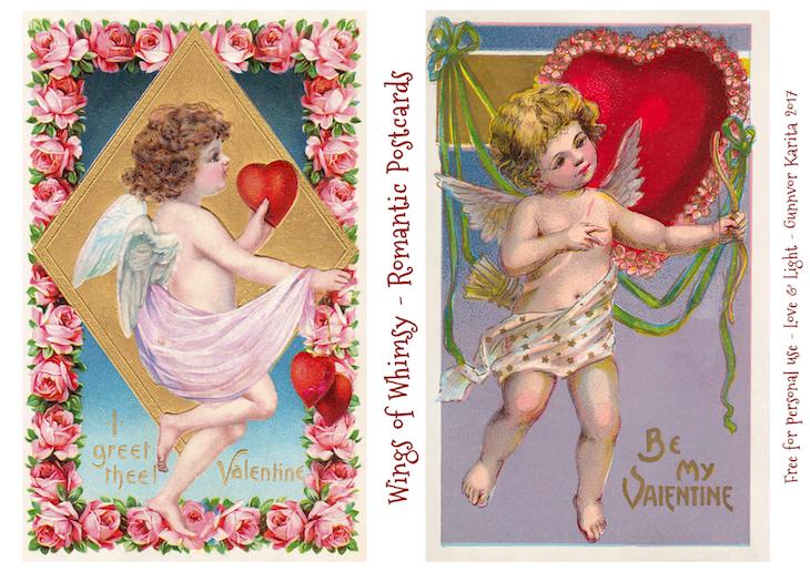 Wings of Whimsy: Romantic Postcards Day 1 #vintage #ephemera #freebie #printable #love #valentine #romantic #cherub #cupid