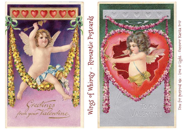 Wings of Whimsy: Romantic Postcards Day 2 #vintage #ephemera #freebie #printable #love #valentine #romantic #cherub #cupid