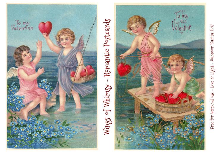 Wings of Whimsy: Romantic Postcards Day 3 #vintage #ephemera #freebie #printable #love #valentine #romantic #cherub #cupid