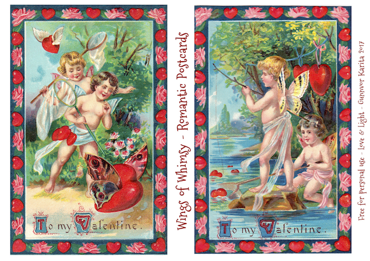 Wings of Whimsy: Romantic Postcards Day 4 #vintage #ephemera #freebie #printable #love #valentine #romantic #cherub #cupid