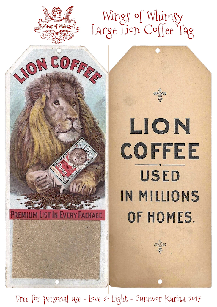 Wings of Whimsy: Large Lion Coffee Tag #vintage #ephemera #freebie #printable #tag #lion #coffee