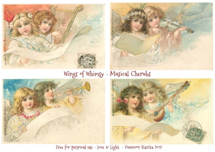 Wings of Whimsy: Musical Cherubs #vintage #freebie #printable #cherub #music #musical #instrument #easter